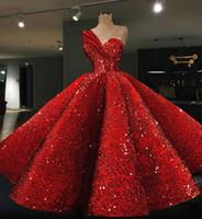 ingrosso zuhair murad abito rosso dell'increspatura-Abito da sera Yousef aljasmi Kim kardashian Abito lungo senza maniche Ruffle rosso paillettes con monospalla Zuhair murad