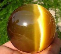 bolas de cristales de feng shui al por mayor-Venta caliente ASIA CUARZO TIGRE OJO CRISTAL HEALING BALL SPHERE 80MM + STAND