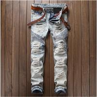 Wholesale pencil paint trouser resale online - Fashion Men s casual painted holes ripped biker jeans for Vintage light blue slim straight denim pants Long trousers