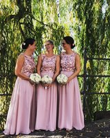 Wholesale flowered chiffon gowns for sale - Group buy 2019 Custom Made Dusty Pink Bridesmaid Dresses Scoop Neck with Handmade Flowers Boho Chiffon Floor Length Maid of Honor Gown BM0240