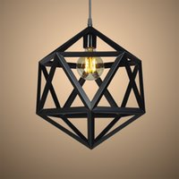 Wholesale iron cage pendant lamp resale online - Loft Edison Cage Retro pendant lamps iron pendant light Prolyhedron Fixture for Dinning Room Home Decoration Lighting E005