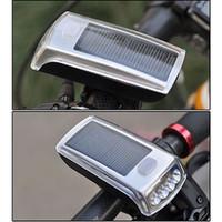 solar-fahrrad-lampe großhandel-Cycle Zone Fahrradbeleuchtung 4 LED Solar Power USB 2.0 wiederaufladbare Licht Lampe vorne Scheinwerfer für Radfahren Y1892809