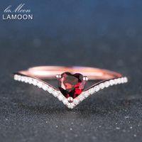 kalp kesme alyans toptan satış-LAMOON 4mm 0.3ct 100% Doğal Kalp kesim Kırmızı Garnet Yüzük 925 Ayar Gümüş Takı Romantik Düğün Band LMRI003 Y1892606