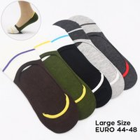 Wholesale invisible clothing - 10 pcs = 5 pairs lot Big Feet cotton men invisible socks footsie men moisture wicking breathable socks clothing 43-48