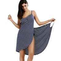 ingrosso vestiti chiffoni beige di lunghezza di ginocchio-Sexy Backless Women Summer Striped Dress V -Neck Spaghetti Strap Women Knee -Length Cover Ups Beach Abiti Vestidos