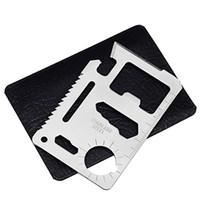 ingrosso 11 scheda utensile-11 in 1 carta di sopravvivenza multifunzione in acciaio inossidabile apri da campeggio tasca militare carte di credito facile da trasportare strumenti EDC 0 62mh BB