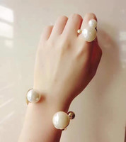 Wholesale bracelet designs for ladies online - Double Pearl Open Ring Bracelet for lady d BRAND Logo Fashion Design Women Party Wedding Brooches D logo Luxury Imitation Jewelry with box
