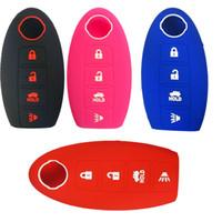 anti-statischer ring großhandel-4 Tasten Smart Silikon Schlüsselanhänger Abdeckung Keyless Entry Inhaber Fall für Nissan Altima Maxima Murano Armada Gt-r Sentra
