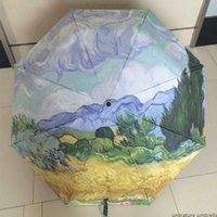 Wholesale traditional chinese painting flowers - Chinese traditional oil painting umbrella colorful flower sunflower anti-UV sun Women umbrella With Cypress wheat field