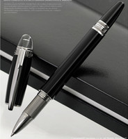 Wholesale resin roller online - Luxury High Unique Design resin or matel Black MB SW Sliver Clip and Pure Black Roller Ball Pen Ballpoint Pen With series Number