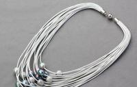 multi-strang silber perlenkette großhandel-11-12mm graue schwarze Süßwasserperlen Multi-Strang Leder Damen Halskette