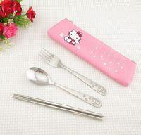 ingrosso cucina a gattino-Kawaii Kitchen TOY, 1X Hello Kitty Spoon Cloth BAG - Set; Set da pranzo per asilo per neonati: cucchiaio + forchetta + bacchette