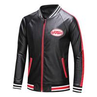 ingrosso inverno rosso ricco di cappotto-Calda vendita marchio di lusso designer di moda classico Red stripes tuta invernale giacca tuta sportiva nero uomo inverno cappotti giacche