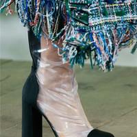 Stivali da pioggia donna tacco tondo nero bianco 2018 Stivali tacco da  passeggio tacco 10 cm di spessore Stivali estivi in pvc trasparente  Stivaletti ... e6c6de84c6d