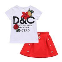 t shirt yeni tasarımlar kızlar toptan satış-2018 Yeni Tasarım Çocuk Kız Setleri Moda Patchwork Çiçekler Desen T-shirt + Etek Kız Yaz giyim Için Giyim Suits