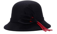 fleurs de laine achat en gros de-6 couleurs d'hiver chapeau de laine en plein air senti chapeau nouveau automne hiver chapeau dame de mode élégant fleurs cap