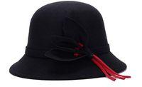 ingrosso fiori di lana-Berretto invernale in feltro per berretti cappello invernale in feltro