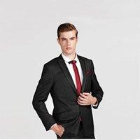 en iyi erkekler resmi takım elbiseleri toptan satış-Custom Made Örgün Siyah Erkekler Düğün Damat Smokin için Uygun Best Man Blazers Ceket 2 Parça Erkek Klasik Pantolon Yakışıklı Balo Terno Giymek