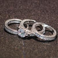 anillos de diamantes de oro de 14kt al por mayor-Uphot 2019 Venta caliente Engagement Topaz Diamante simulado Diamonique 14KT Relleno de oro blanco 3 Conjuntos de anillos de boda para mujer Tamaño de regalo 5-11