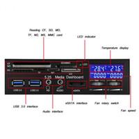 lector de pantalla lcd al por mayor-STW-3008 USB3.0 PC Tablero de instrumentos multimedia Panel frontal eSATA Lector de tarjetas multifunción Alta velocidad 100MBs Controlador del ventilador con pantalla LCD