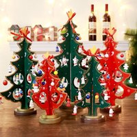 Wholesale christmas window art for sale - Carved Wooden Christmas Tree Desktop Decorations Window Tabletop Crafts Art Decor Double decker Wooden Xmas Tree Christmas Gift Supplies