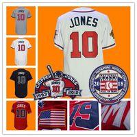 Wholesale Atlanta Baseball Jersey - #10 Chipper Jones Jersey With 2018 Hall OF Fame & Retirement Patch Atlanta Baseball Jerseys Blue White Red Grey 1995 Retro