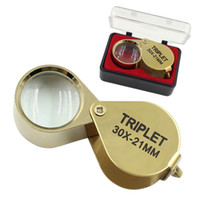 Wholesale Magnifying Glass Gold - Portable 30X Power 21mm Jewelers Magnifier Gold Eye Loupe Jewelry Store Lowest Price Magnifying Glass with Exquisite Box