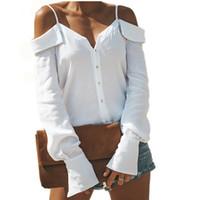 kadınlar için bluzlar toptan satış-2018 Sonbahar Zarif Ofis Lady Bluz Kadınlar Parlama Kollu Soğuk Omuz Spagetti Sapanlar Gömlek Chemise Femme Manche Longue