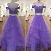 Wholesale ball skirt two piece online - Light Purple Two Pieces Prom Dresses Off Shoulder Appliques Beaded Tiered Tulle Skirt Ball Gown Prom Dresses Mint Green Sweet Dress