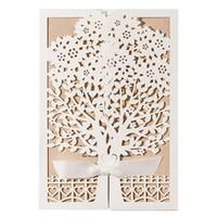 Wholesale laser cut gift box design - 10PCS Set White Tree Laser Cut Marriage Wedding Elegant Bow Ribbon Designed Flower Flower Greeting Card Party Supplies Gift P15