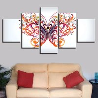 ingrosso butterfly paintings for wall-Modulare Canvas Paintings Poster 5 Pieces Astratto Colore Farfalla Immagini Decorazione Casa Soggiorno Stampe moderne Wall Art