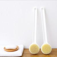 Wholesale wholesale bath brushes sponges - Bath Shower Bristle Brush Spa Dry Skin Body Brush Natural Bristle With Long PP Handle Bath Brush Bath Sponge
