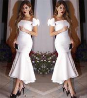 sirena asimétrica vestido de fiesta al por mayor-2019 Elegante Sirena Asimétrica Satén Blanco Dubai Árabe Vestidos de Baile Simple Fiesta de Noche Barata Vestido de Festa Entrega Rápida