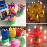 aniversário velas lótus venda por atacado-Bolo Topper Double-Deck de Flor de Lótus Flor Mágica Vela Musical Festa de Aniversário Pétalas Coloridas Música Vela HH7-204