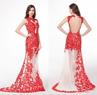 Wholesale traditional chinese dressing gown - Red Lace Real Picture See Through Evening Dresses Traditional Chinese Tulle Appliques Sleeveless Robe De Soiree Cheap Long Party Prom Gowns
