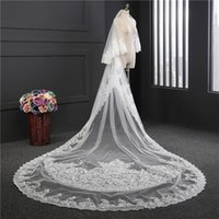 Wholesale long two tier veil resale online - Two Tiers Long Cathedral Wedding Veils With Lace Applique Trim Soft Tulle Real Image Bridal Veil