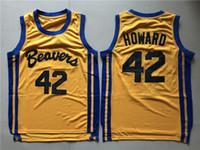 42 film großhandel-Herren Teen Wolf Scott Howard 42 Beacon Beavers Basketball Jersey Gelb Film Howard Beavers Genähte Hemden S-XXL
