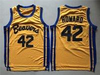 42 filme venda por atacado-Mens Lobo Adolescente Scott Howard 42 Beacon Beavers Basquete Jersey Amarelo Filme Howard Castores Camisas Costuradas S-XXL