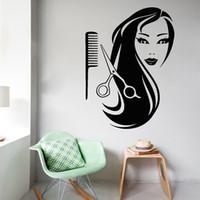 ingrosso scissor decorazione-Forbici a pettine per ragazza Parrucchiere Beauty Wall Sticker per soggiorno decorazione della casa