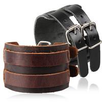 ingrosso bracciale doppio in pelle per gli uomini-Cinturino stile cowboy cinturino in stile 5 doppio cinturino in pelle largo avvolgente braccialetto fibbia polsini bracciali punk gioielli G276S