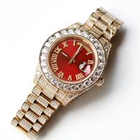 смотреть брендовые полные бриллианты оптовых-Full Diamonds Gold Роскошные Часы Мужчины 43 ММ Большие Камни Безель 316L Day Sweep Автоматическая Дата Часы Высокого Качества Набор Diamond Марка Наручные Часы
