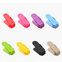 ingrosso pattini in plastica-Shoe Slots Organizer Double Deck Scarpiera Plastic Closet Space Saver Premium Scarpe Slot Supporto per portaoggetti