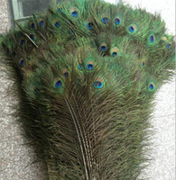 "Wholesale Decoration Fan Party - 200pcs Feather Peacock TAILS 10""-12"" Tail Feathers Fan For Wedding Party Party Decoration"