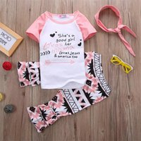 Wholesale child fashion leopard - new fashion lovely girls suits letter geometrc print short sleeve t-shirt long pants children clothing set with headband free shipping B11