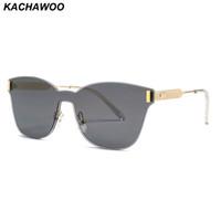ingrosso occhiali da sole blu rettangolo-Kachawoo occhiali da sole rettangolari senza montatura uomo occhiali da sole rossi blu unisex occhiali decorativi da sole per donna sole