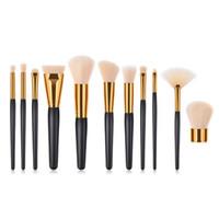 Wholesale 11 tool kit for sale - Group buy 11 Set Classic Black Golden Makeup Brushes Set Foundation Highlighter Eyeshadow Blush Concealer Make Up Brush Wood Handle Cosmetic Tool