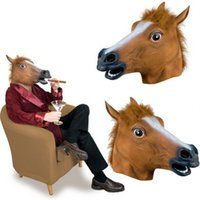 Wholesale latex rubber costume - Horse Head Vizard Masquerade Masks Novelty Latex Rubber Face Mask For Halloween Christmas Party Costume Supplies Funny 15hj CB