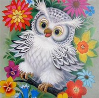 Wholesale Cute Owl Paintings - Diamond embroidery animal cute owl flower diy diamond painting cross stitch kit resin full round diamond mosaic home decoration yx4000