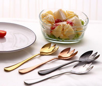 Wholesale metal dinner plates wholesale - Stainless Steel Salad Spoon Salad Fork Multicolor High Quality Food Grade Titanium Plating Dinner Fruit Salad Spoon And Fork Dinnerware Tabl