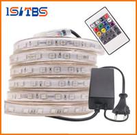 corte de tira de led al por mayor-Corte GRATIS 10M-50M 110V / 220V Alta Tensión SMD 5050 RGB Led Tiras Luces Impermeable + IR Control Remoto + Fuente de Alimentación